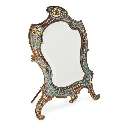 French antique champleve enamel Rococo style table mirror