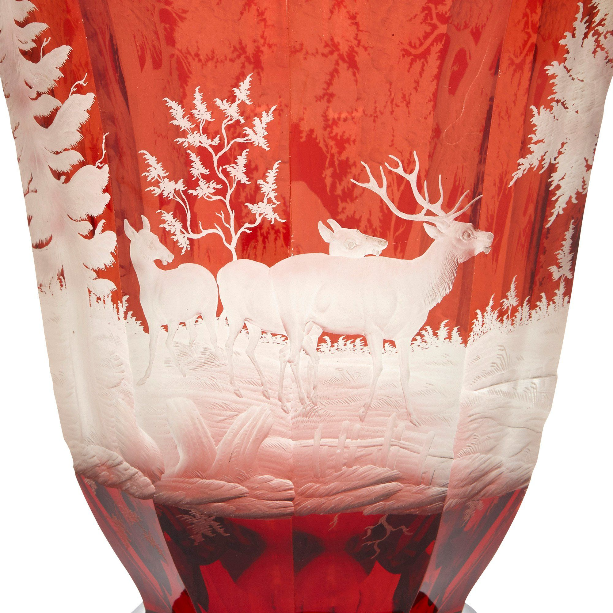 Large 19th Century Engraved Bohemian Ruby Glass Goblet