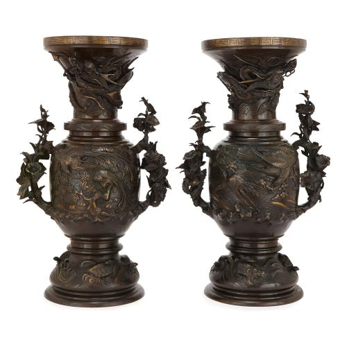 Pair Of Japanese Meiji Period Patinated Bronze Vases Mayfair Gallery