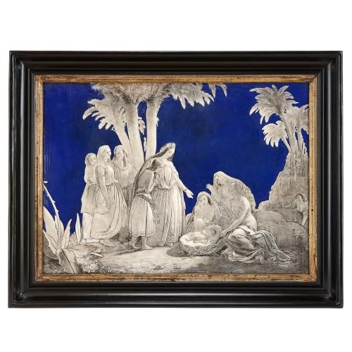 Large antique enamel plaque of The Finding of Moses