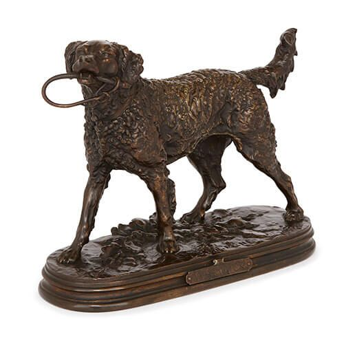 'Warwick', antique patinated bronze model of a dog by Mene