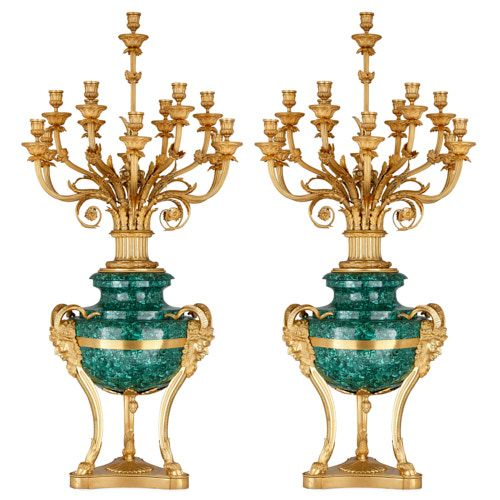 Pair of Neoclassical style ormolu mounted malachite candelabra