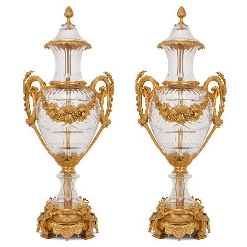 Pair of large Neoclassical style ormolu mounted glass vases