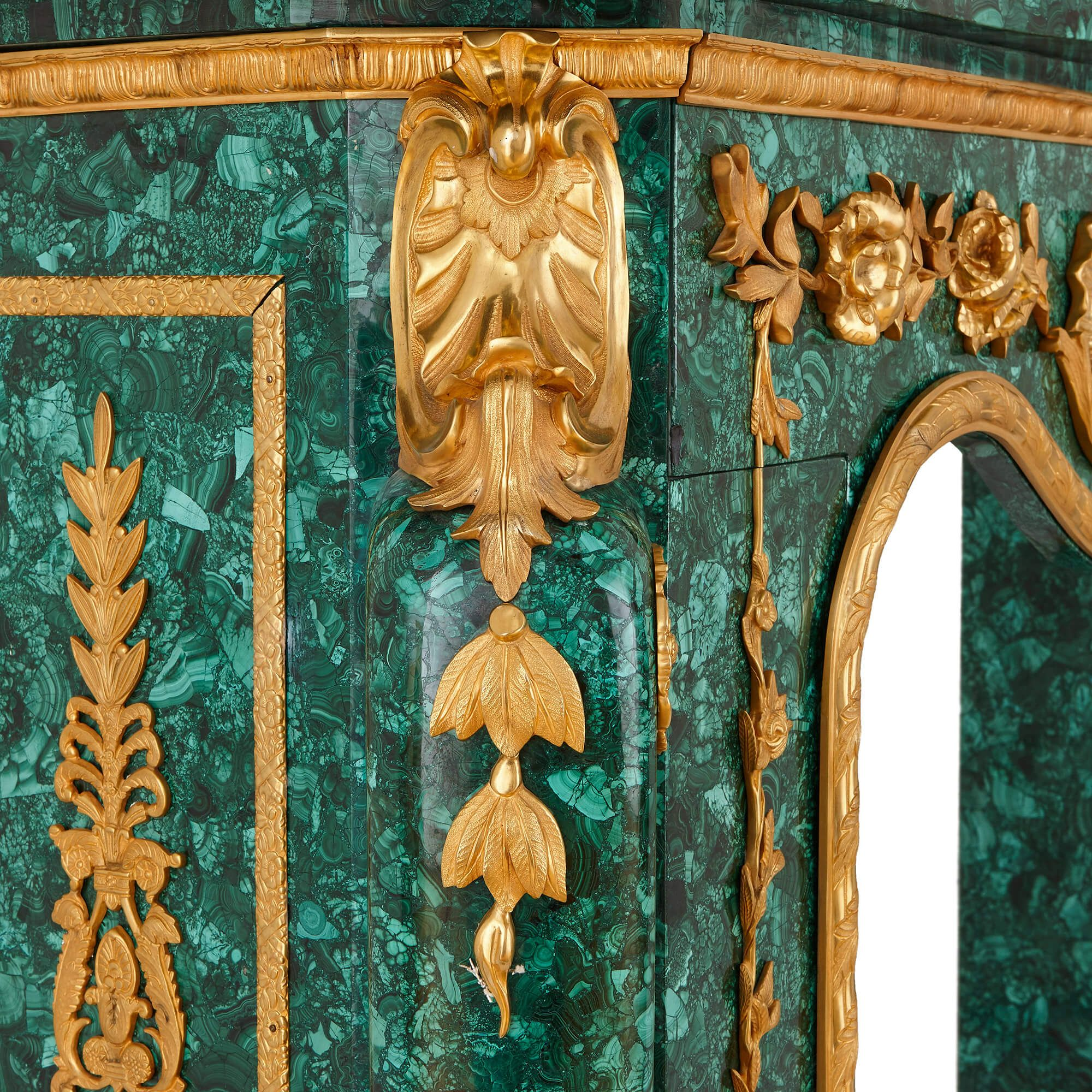 French Baroque Style Ormolu Mounted Malachite Fireplace Mayfair Gallery