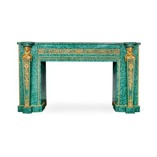 Very large Empire style ormolu mounted malachite fireplace