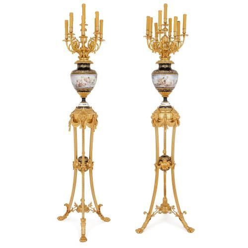 Large pair of ormolu and Sevres style porcelain floor lamps