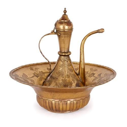 18th Century Ottoman gilt copper ewer and basin