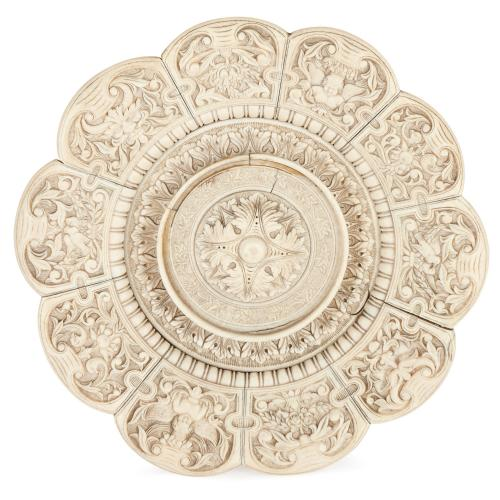 19th Century Dieppe carved ivory platter