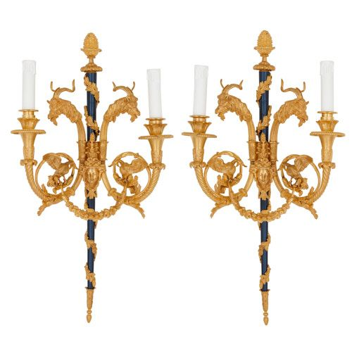 Pair of Louis XV style ormolu twin-branch wall lights