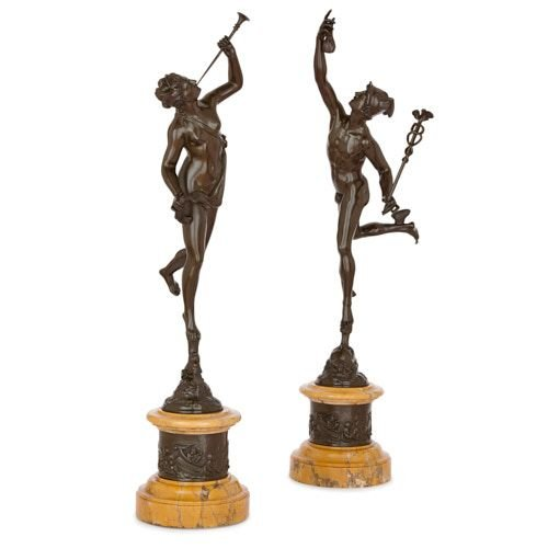 Pair of bronze sculptures of Mercury and Fortuna after Giambologna