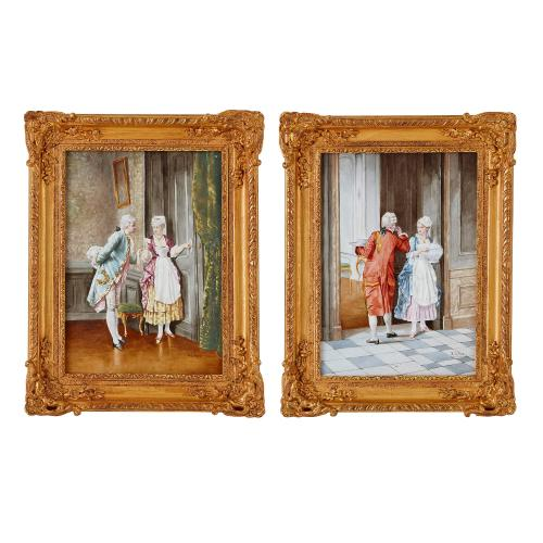 Pair of 19th Century French ceramic plaque paintings