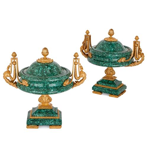 Pair of Neoclassical style ormolu mounted malachite vases