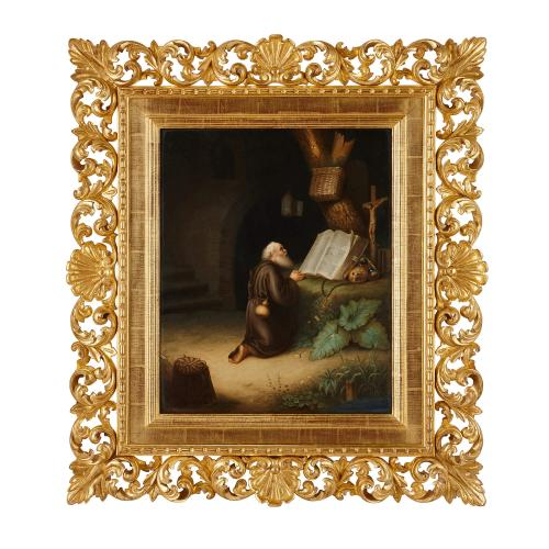 Large antique German KPM porcelain plaque of St Jerome