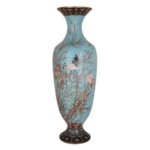 Large Japanese Meiji Period Blue Cloisonne Enamel Vase Mayfair Gallery
