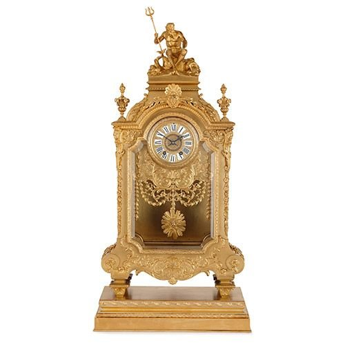Large 19th Century French ormolu mantel clock by Barbedienne