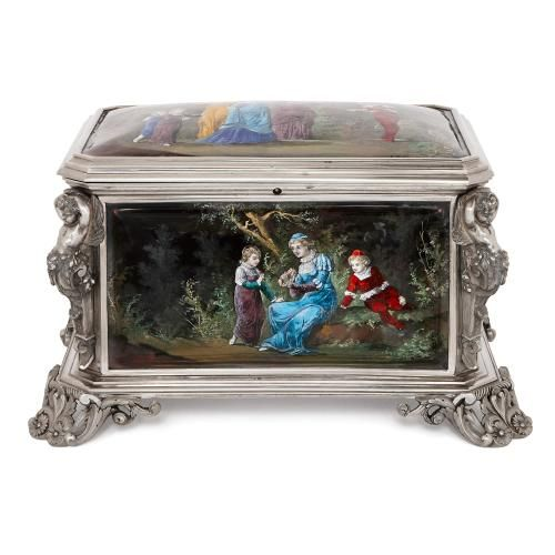 French antique silvered bronze and enamel casket