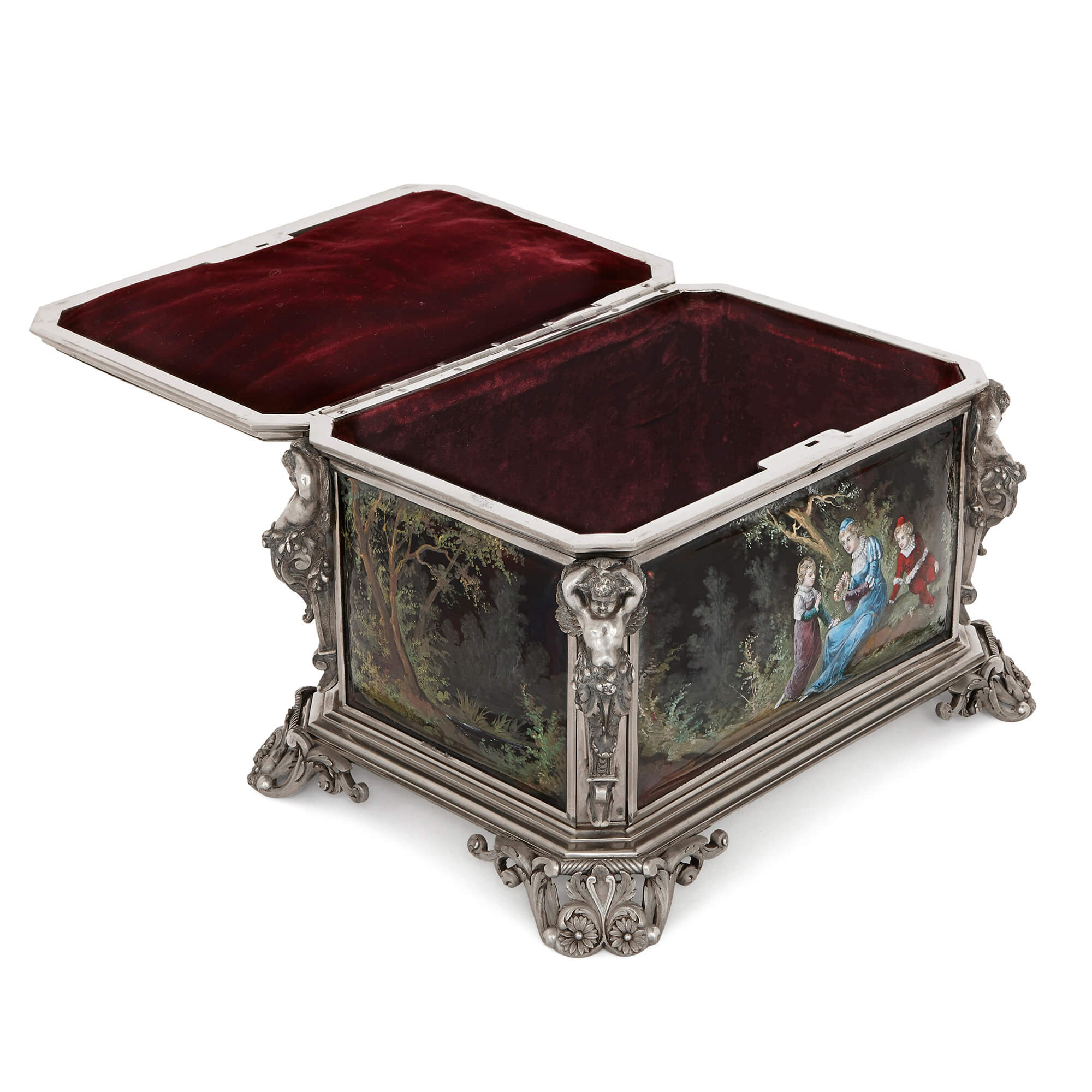 French Antique Silvered Bronze And Enamel Casket Mayfair Gallery - Casket coffee table