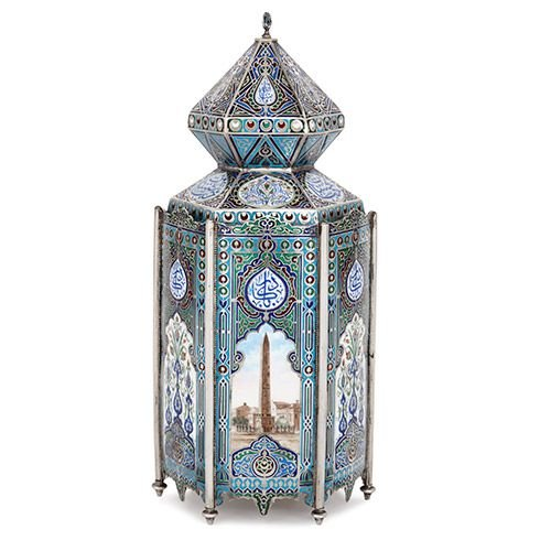 Antique Russian Islamic Turkish market silver and enamel vase