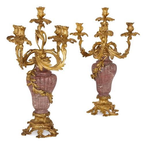 Pair of French Napoleon III period ormolu and marble candelabra