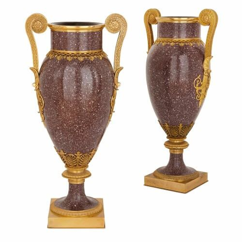 Pair of Empire style ormolu mounted porphyry vases