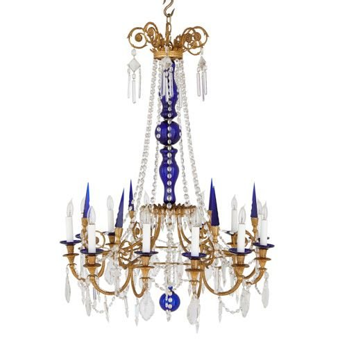 Antique Russian ormolu, cobalt blue and clear glass chandelier