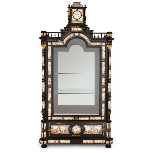 Ebonised wood vitrine with Viennese enamel and ormolu mounts