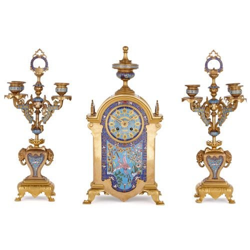 Antique French ormolu and champlevé enamel clock set