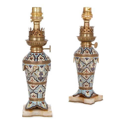 Pair of antique champlevé enamel, ormolu and onyx lamps