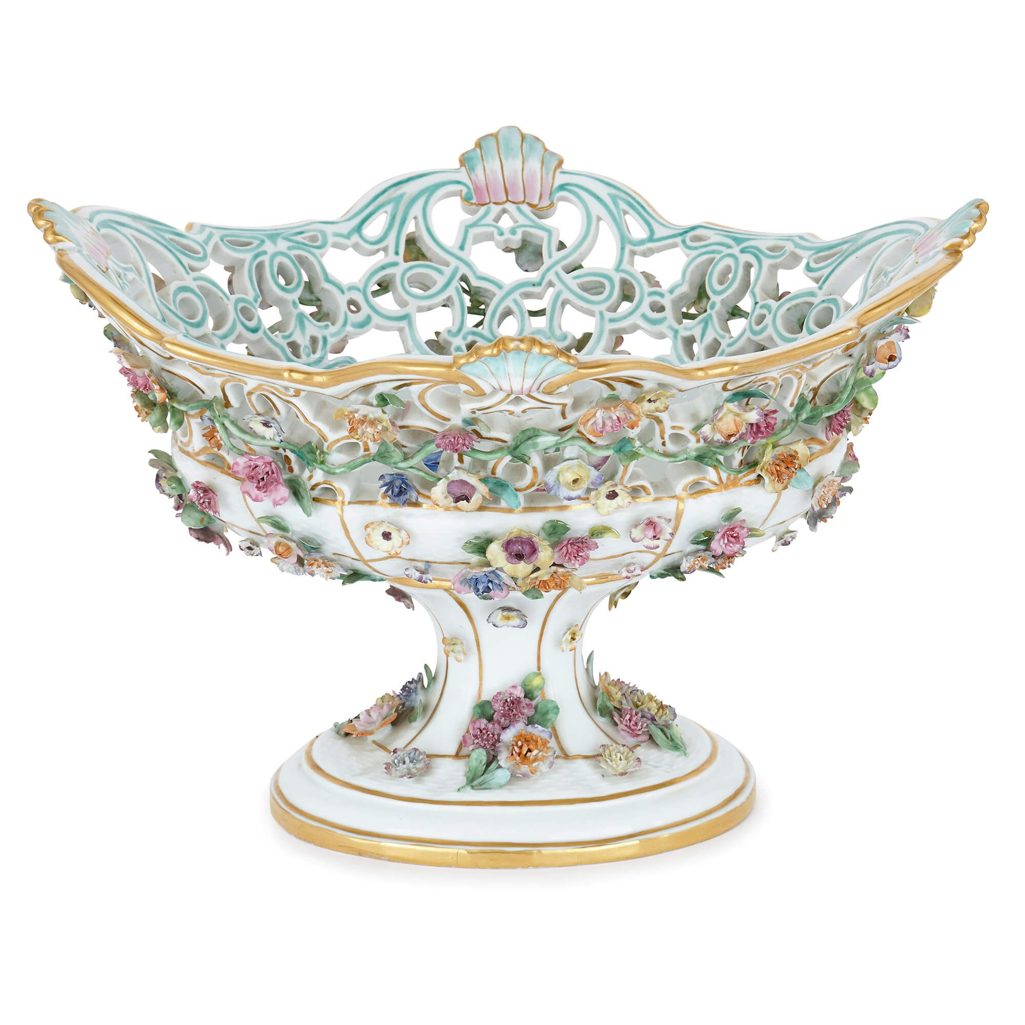 19th Century German Meissen Porcelain Fruit Bowl Mayfair