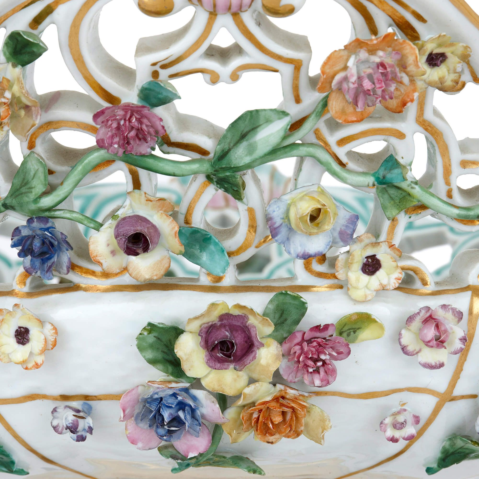 19th Century German Meissen Porcelain Fruit Bowl Mayfair