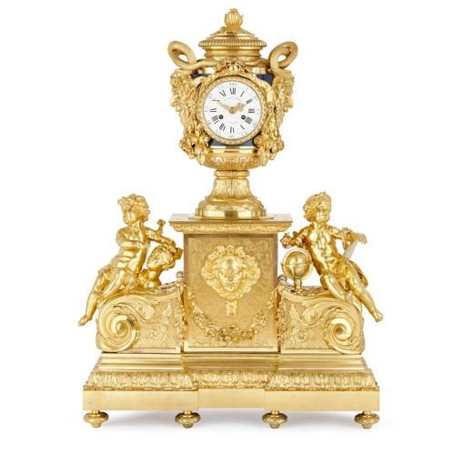Large Napoleon III period ormolu mantel clock after Le Roy