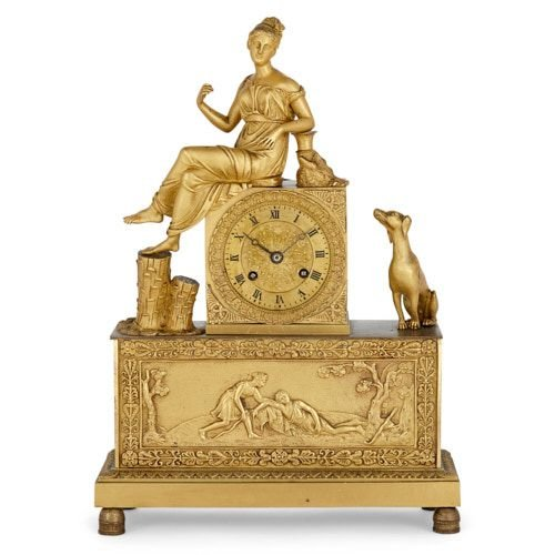 Empire period ormolu mantel clock