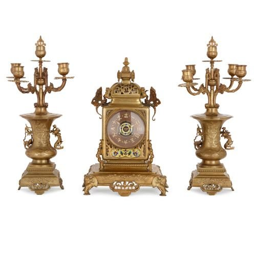 Japonisme ormolu and cloisonné enamel clock set
