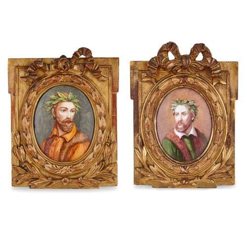 Pair of antique Limoges enamel plaques