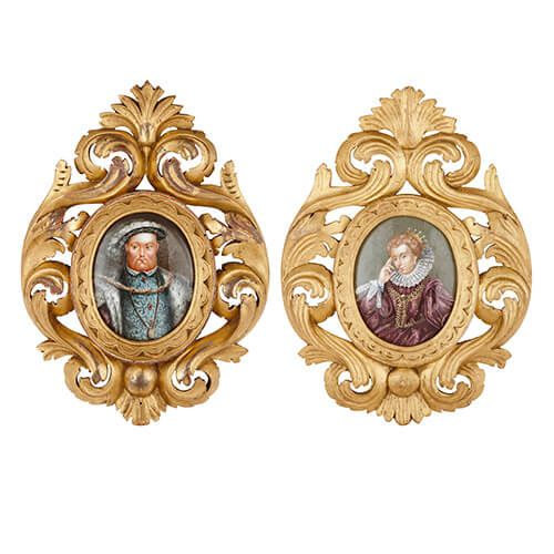 Pair of antique Limoges enamel plaques in giltwood frames
