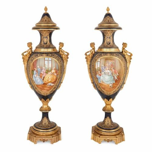 Very large pair of ormolu mounted Sevres style porcelain vases