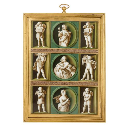 Antique Renaissance style porcelain plaque after Raphael