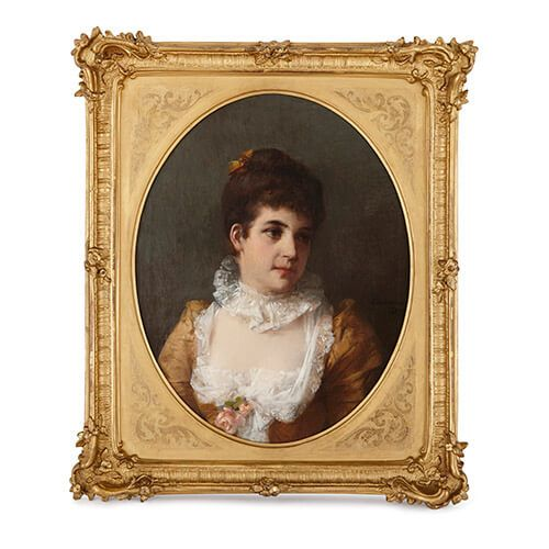 Antique oil painting portrait of a lady by Erdmann