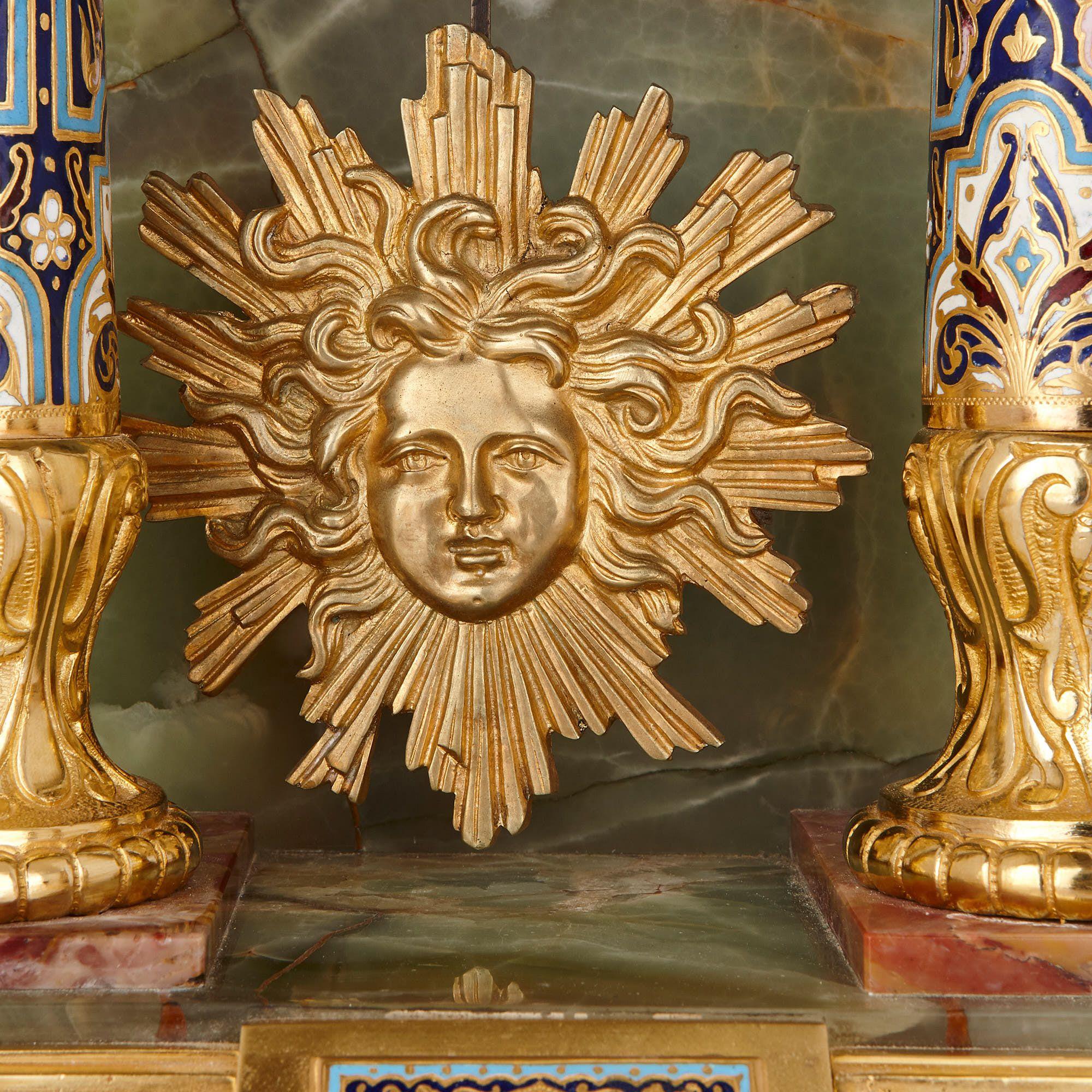 Ormolu Mounted Champlev 233 Enamel Onyx And Marble Pedestal Clock Mayfair Gallery