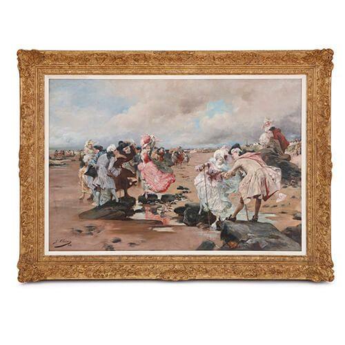 'A Sunday by the Sea', antique oil painting by Clairin