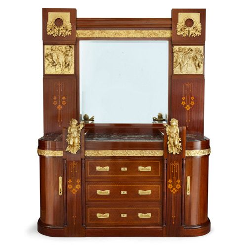 Ormolu mounted Aesthetic Movement marquetry dressing table
