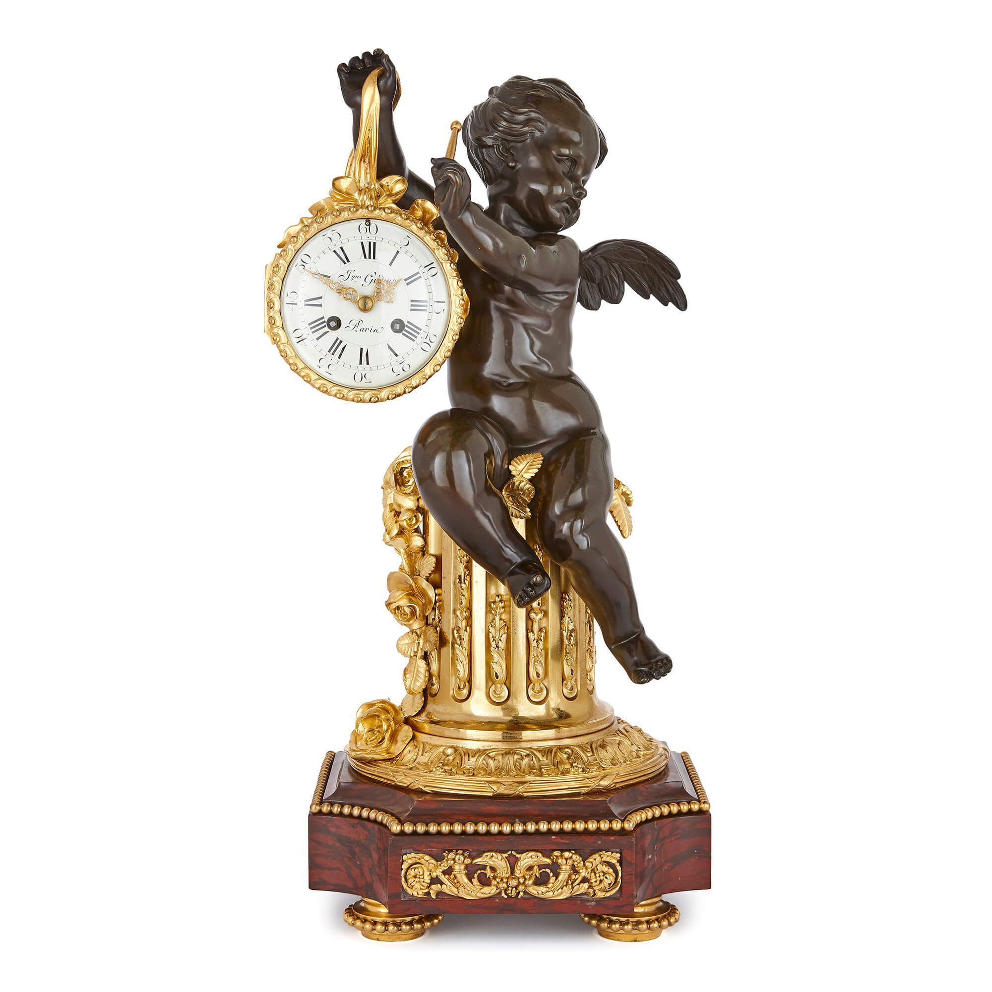 Antique Gilt Patinated Bronze And Marble Mantel Clock