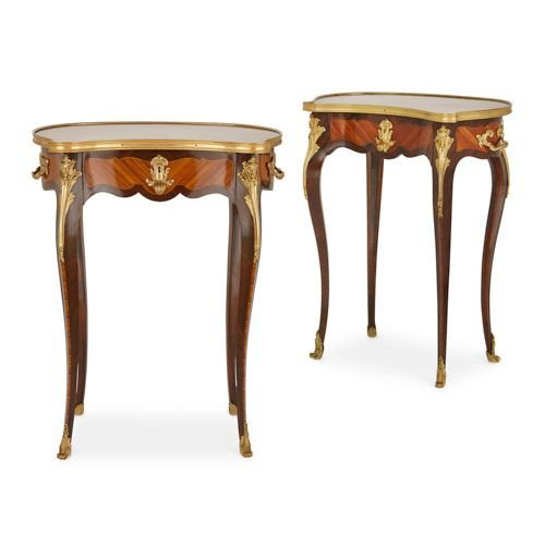Pair of Louis XV style ormolu mounted parquetry side tables