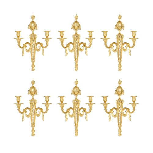 Set of six French Neoclassical style ormolu wall lights