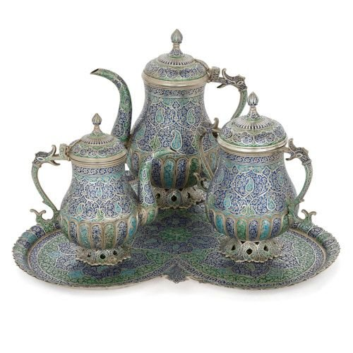 Enamelled silver tea and coffee set with tray, Kashmir