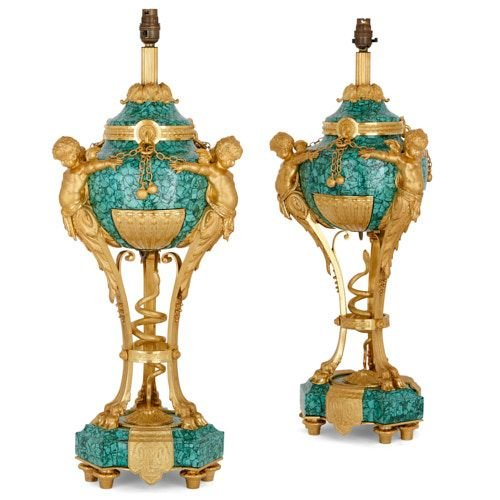 Pair of antique French ormolu and malachite table lamps