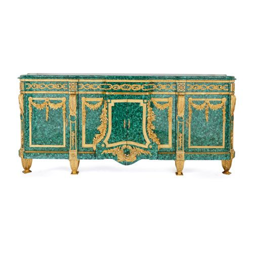 Very large French ormolu mounted malachite side cabinet