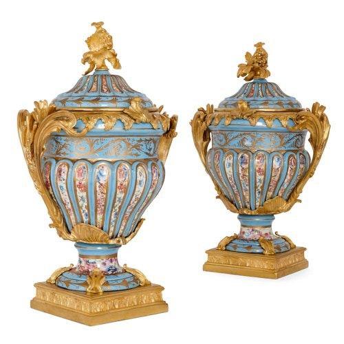 Pair of French ormolu mounted Sèvres style porcelain vases