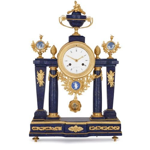 Louis XVI period lapis lazuli and ormolu mantel clock by Jeune