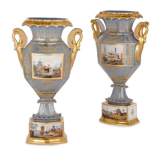Pair of French Chinoiserie porcelain twin-handled vases